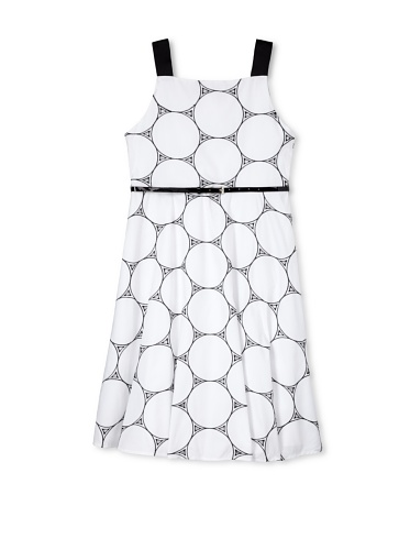 Jellybean of Miami Girl's Plus Size Ribbon Shoulder Strap Dress (Black/White)