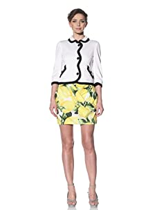Moschino Cheap and Chic Women's Scalloped Edge Boucle Jacket with Jewel Trim (White)