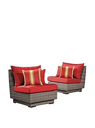 RST Brands Cannes Set of 2 Modular Armless Chairs, Red