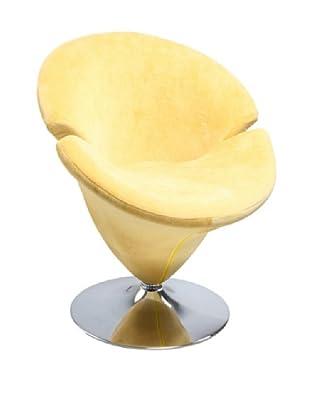 International Design USA Tulip Microfiber Leisure Chair, Yellow