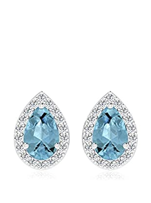 Diamant Vendome 0.09 Cts Diamond & 0.55 Cts Blue Topaz Earring In 9Kt White Gold (Gh Color, Pk Clarity) T12572W/9/Ns/Blue Topaz White Gold