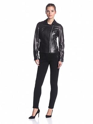 Calvin Klein Women's Leather Moto Jacket (Black)