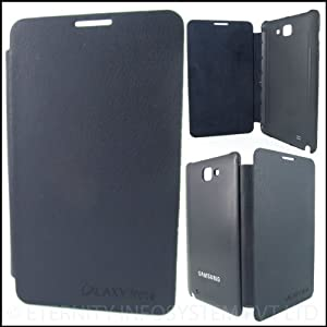 Samsung Galaxy Note 1 N7000 Pebble Blue Leather Flip Back Cover Case
