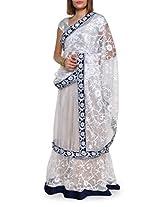 Floral embroidered white net lehenga saree