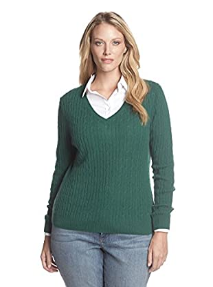Kier & J Plus Women's Cashmere V-Neck Cable Sweater (Emerald)