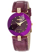"Jowissa Women's J5.015.M ""Facet Strass"" Rhinestone-Accented Gold PVD Watch with Purple Leather Band"