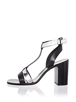 Calvin Klein Collection Women's Ferra T-Strap Sandal (Black/Silver)