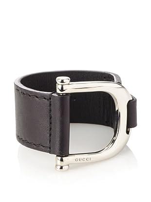 Gucci Leather Gucci Logo Buckle Bracelet