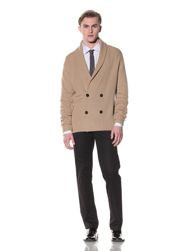Halston Men's Double-Breasted Shawl Collar Cardigan (Camel)