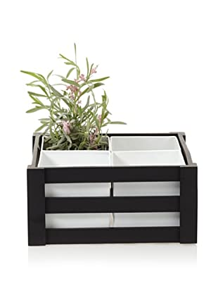 Wald Imports Wooden Crate with 4 Square Metal Inserts, Black/White