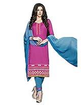 Lavis Women's Pink Cotton Dress Material