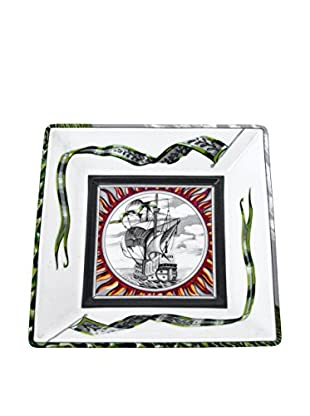 Hermès Dish with Sailing Ship In Sun, Blue/White/Green/Red