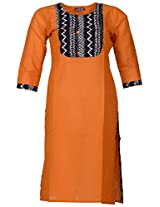 Bunkaari India Women's Cotton Regular Fit Kurti (00LK 35_42, Mustard Yellow, 42)