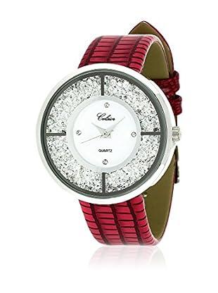 SHINY CRISTAL Uhr mit Japanischem Quarzuhrwerk  silber/rot/weiß 40 mm