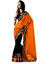 Winza Exclusive Orange Georgette Saree With Fancy Blouse