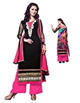 Women Black& pink un stiched dress material