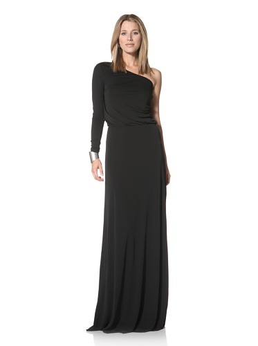 Halston Heritage Women's One-Shoulder Gathered Gown (Black)