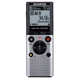 OLYMPUS ボイスレコーダー VoiceTrek 2GB スタンダードモデル 単4電池2本使用 VN-702PC ブラック/シルバー