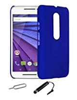 TCA Matte Motorola Moto G3 Moto G 3rd Gen Rubberized Finish Hard Case - Blue With Mini Stylus + Eject Pin