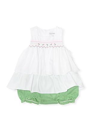Bebe Mignon Baby Top and Bottom Check Sundress (White/Green)