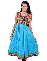 Kala Sanskruti Women's Cotton Silk Light Blue Kurti