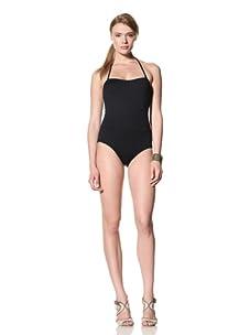 diNeila Women's Halter Neck One Piece Swimsuit (Black)