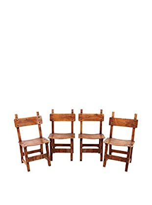 Set of 4 Spanish Nutwood Chairs