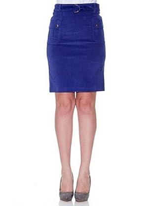 Cortefiel Samtrock (Blau)