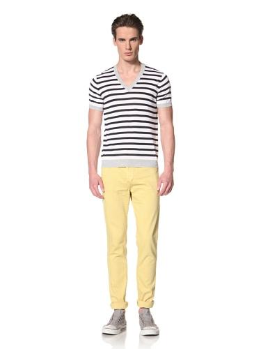 Antony Morato Men's Short Sleeve V-Neck Stripe Sweater (White)