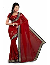 Trynget Chiffon Saree (20 New _Red)