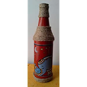 Artiliciously Your'S Elephant2 Painting On Recycled Glass Bottle