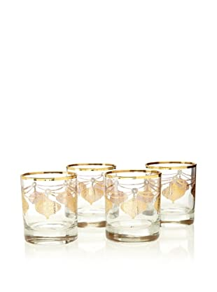 A Casa K Set of 4 Marrekesh Décor 8.5-Oz. Crystal Double Old Fashion Glasses, Clear/Gold