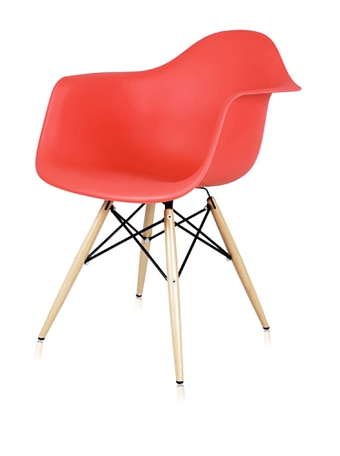 Mid Century Eiffel Arm Chair with Wooden Dowel Legs (Red)