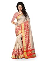 Shree Sanskruti Self Design Poly Cotton Red Color Saree For Women With Blouse Piece