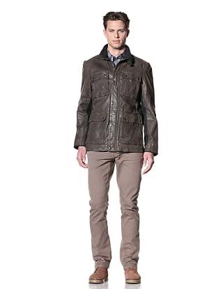 John Varvatos Star USA Men's Leather with Canvas Jacket