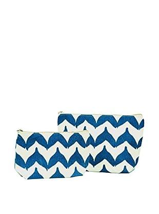 Rock Flower Paper 2-Piece Torana Chevron Cosmetic Bag Set, Navy