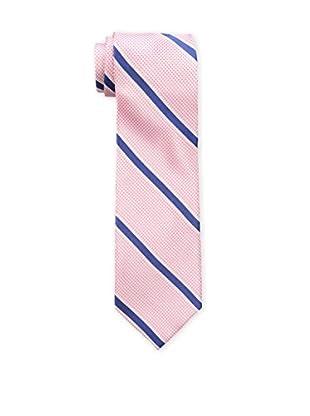 Bruno Piattelli Men's Stripe Silk Tie, Pink Navy