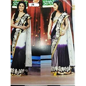 Bollywood Replica Style Madhuri Dixit Saree From Jhalak Dikhlaja - Two Tones Color Shaded Saree By Mirraw.com