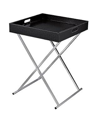 Artistic Sete Glam Folding Tray Table, Chrome/Black