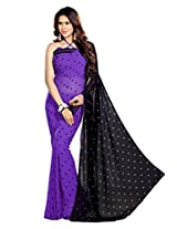 Sourbh Sarees Stylish Lace Work Purple Faux Georgette Best Sarees for Women Party Wear, Special Karwa Chauth Gifts for Wife, Women Clothing Collection