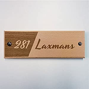 Engraved Wooden Name Plate - Photo Vignette