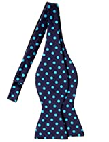 Retreez Classic Polka Dots Woven Microfiber Self Tie Bow Tie - Navy Blue with Cyan Blue Dots