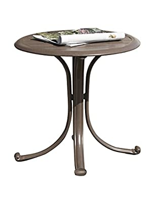 Panama Jack Island Breeze Patio End Table With Slatted Aluminum Top, Espresso