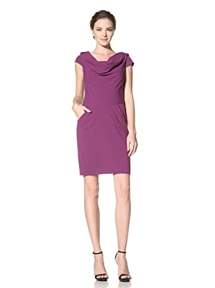 Calvin Klein Women's Cap Sleeve Drape Neck Dress with Pockets (Mulberry)