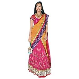 Bollywood Replica Diya Mirza Chiffon Lehenga In Orange and Pink Colour NC298