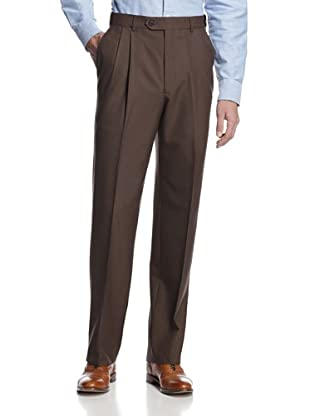 hickey by Hickey Freeman Men's Double Reverse Pleats Solid Pant (Brown)