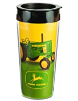 Vandor 28151 John Deere 16 oz Plastic Travel Mug, Green and Yellow