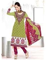 Saara Green And Pink Printed Dress Material - 139D101