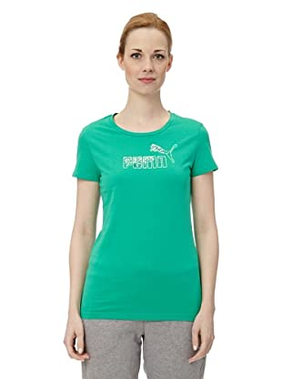 Puma Damen T-Shirt Large Logo (deep green)