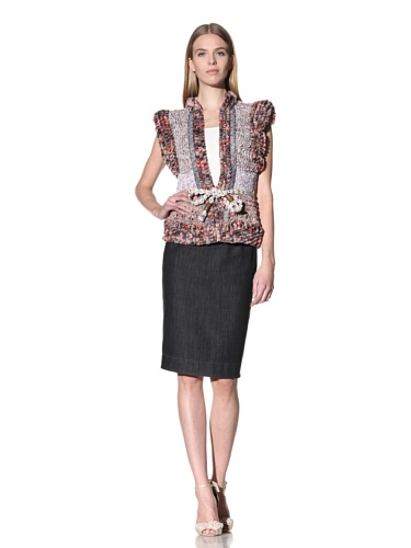 Byron Lars Women's Novelty Artisan Handknit Vest (Peony)